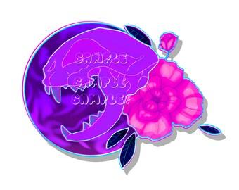Floral Cat Skull Glossy Sticker
