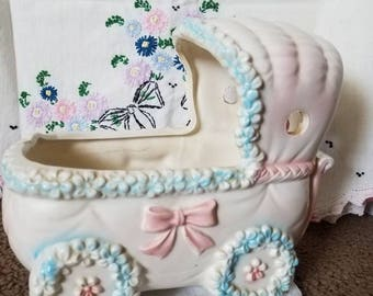Vintage Baby Carriage Planter Pink and Blue Flowers