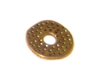 12mm Gold Spotted Disc with Hole Metal Bead - 12 Beads