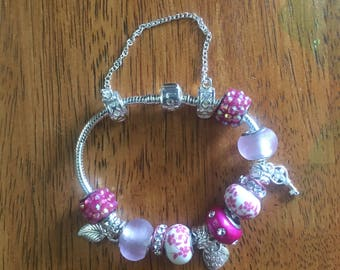 Pink European Charm Bracelet, European bracelet, charm bracelet, European charm, European beads, charm, bracelet, pandora bracelet.