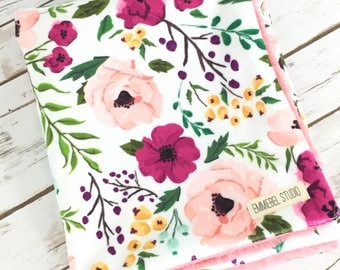 Baby Blanket - Floral Baby Blanket - Custom - Stroller Blanket - Pink Baby Blanket - Minky Baby Blanket -  Baby Girl Blanket  - Floral