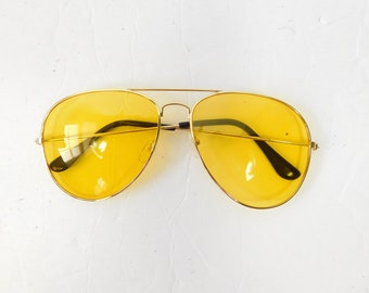 Vintage 1970s 70s Classic Standard Yellow Gold Transparent Fashion Big Aviator Sunglasses Frame Lens Glasses Eyewear