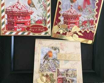 Set of 3 Hunkydory Traditional Christmas Greetings Cards with gold foil accents, Vintage Christmas, Across the Miles, Gold Foiled extras