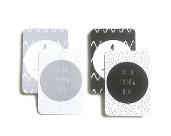 Monochrome OR grey milestone cards baby cards new