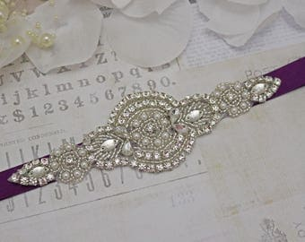 plum sash, plum bridesmaid belt, flower girl belt, bridesmaid sash, wedding sash, crystal rhinestone belt