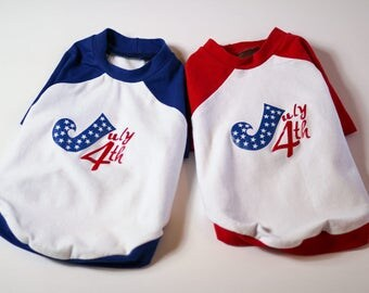 Independence Day, July 4th Raglan T-shirt for dog Small Size