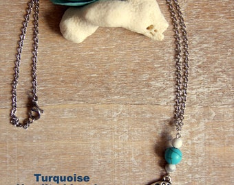 Natural howlite and turquoise necklace