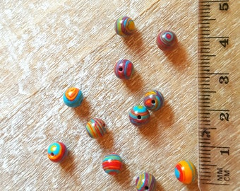 Multicolored dyed natural agate beads