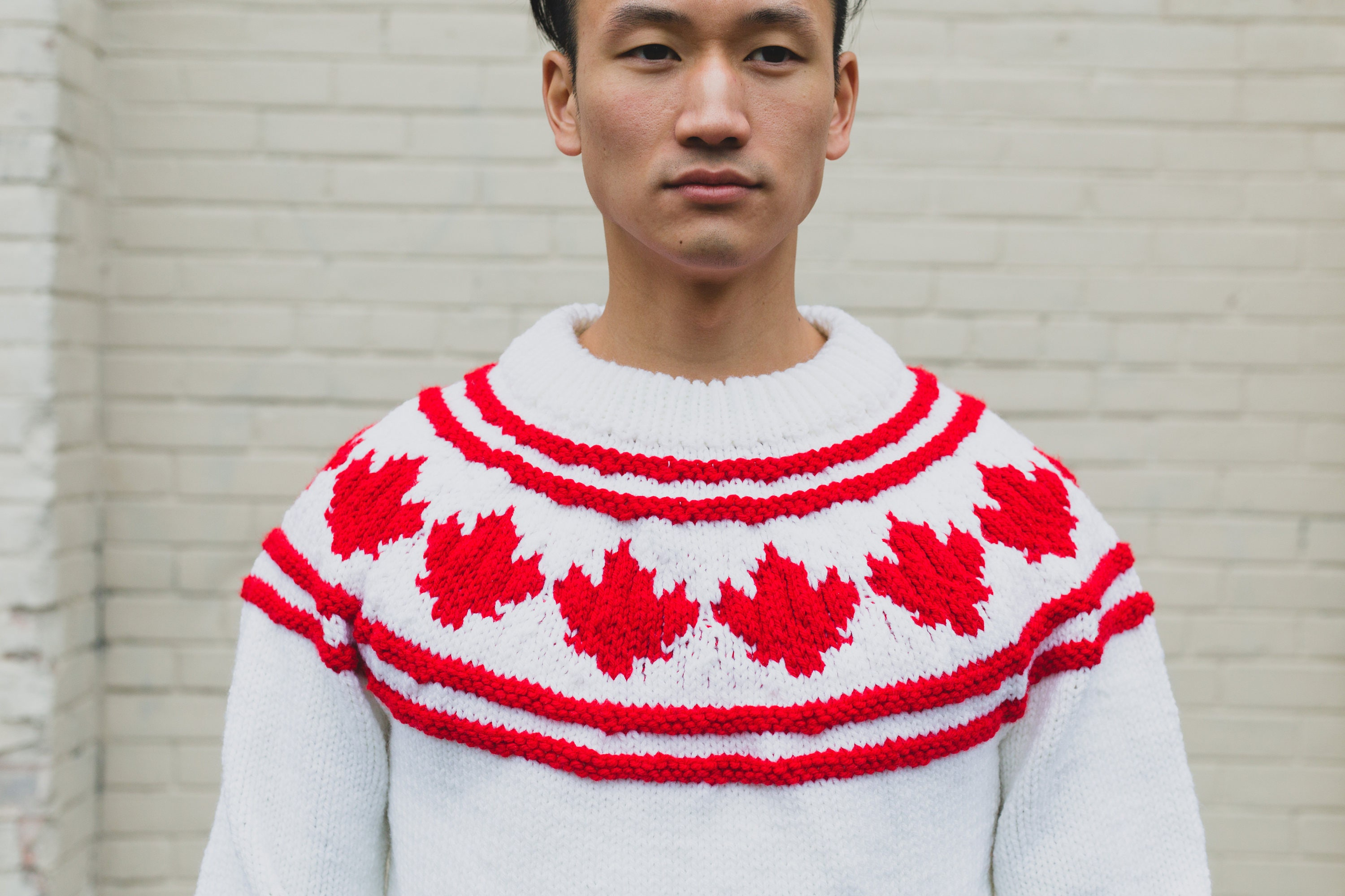 Canadian Flag Maple Leaf Sweater / Vintage Wool Hand Knit Sweater ...