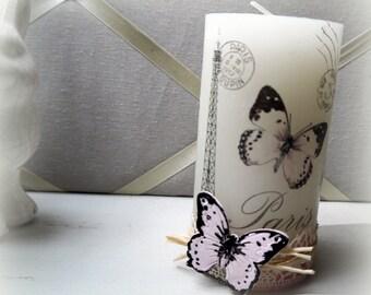 Bougie papillon déco romantique 13 cm