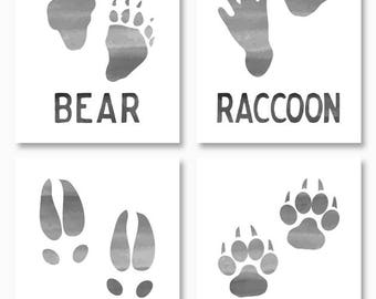 RUSTIC NURSERY, Printable Nursery Art, Woodland Animal Printables, Set of Four, Bear, Fox, Deer, Raccoon, Paw Prints, Instant Download