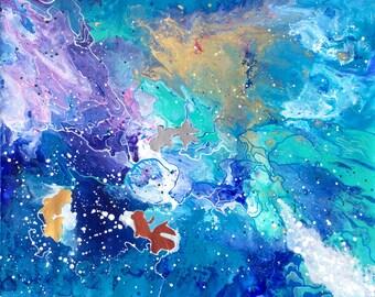 "Large Mixed Media Abstract Painting--""Goldfish III"""