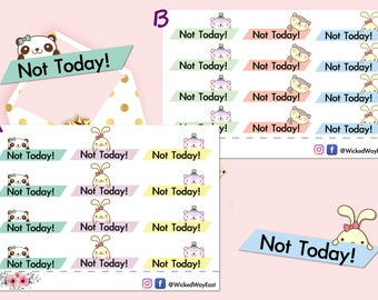 Not Today Planner Header Tabs, Not Today Planner Sticker, Not Today Planner Tabs, Scrapbook Sticker, Planner Accessory - 12 Stickers