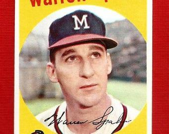 Warren Spahn Milwaukee Braves Reprint Of Topps 1959 Baseball Card. Original Back. Mint Condition.