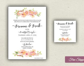 Beautiful Watercolor Bouquet Floral Wedding Invitations Printed