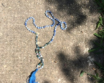 108 mala beads Blue Aventurine and Moss Agate