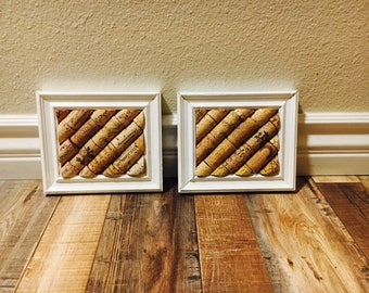 White 4x5 Framed Cork Board Set; Farmhouse Wine Cork Boards