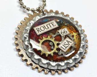Route 66 Steampunk Bottle Cap Necklace