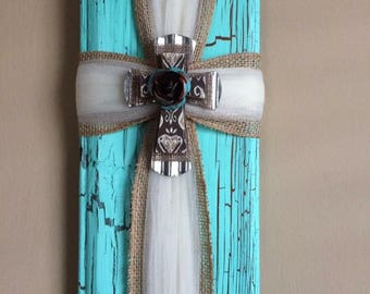 Turquoise ribbon cross
