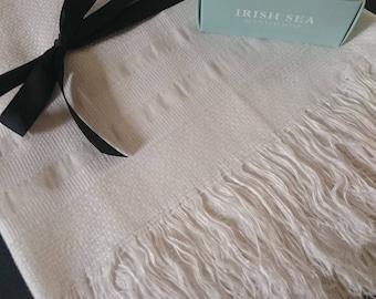Unused Antique Irish Linen unbleached fringed huckaback Guest towel  ~ Boho bathroom