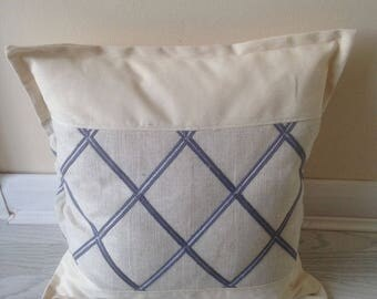 """Lovely neutral cushion cover with blue trellis design 18"""""""