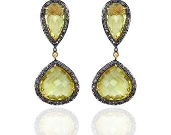 Diamond Earrings with Lemon topaz