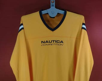 Vintage Nautica Shirt Long Sleeve Spellout Shirt Sweatshirt Yellow Colour Champion Shirts Polo Ralph Lauren Shirts