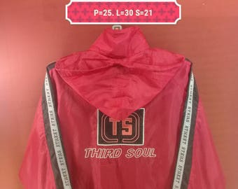Vintage Third Soul Jacket Windbreaker Spellout Big Logo Embroide Shirt Red Colour Size M Adidas Windbreakers Nike Windbreakers Hip Hop