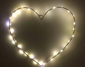 Love Heart LED Light - Wall Hanging - Gift for Her - Girl - White Night Light - Lantern - Bedroom Decor - House Decor - Living Room -Wedding