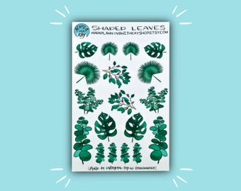 Shaded Leaves | Leafy Planner Stickers | Bullet Journal Stickers | Stickers for Planners, Journals, and More | Journaling Supplies