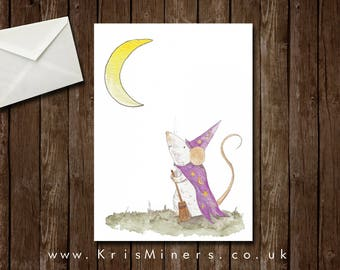 Whimsical Mouse Witch Halloween Greetings Card - Waiting for the Full Moon