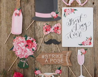 Boho Wedding Photo Props, Selfie Props, Wedding Selfie, Table Photo Props, Rustic Photo Props, Best Day Ever, Photo Booth Props, DIY Photo