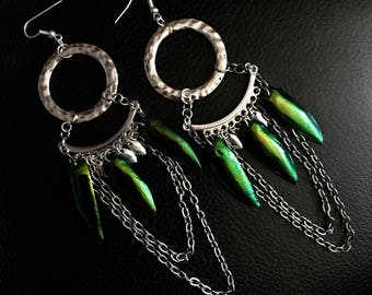 Beetle Wing Chandelier Earrings