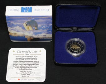 1996 Canada 2 Polar Bear Proof Coin Sleeve COA Royal Canadian Mint