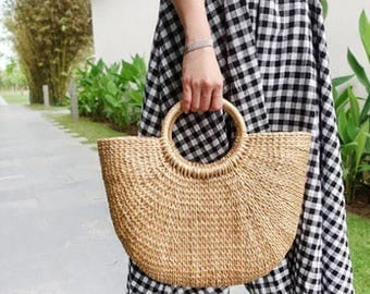 Summer Straw Bag/Handwoven straw mini bag/ straw purse/ straw handbag/ straw bag basket/ seagrass basket - instock!
