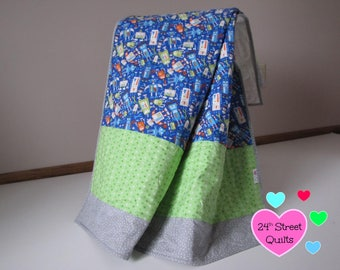 Baby Quilt, Baby Blanket, Crib Quilt | Robot