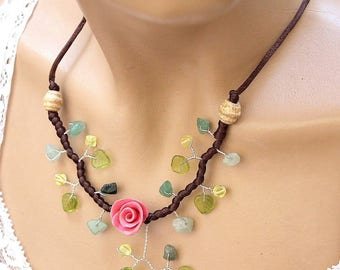 Pink and green flowers romantic necklace