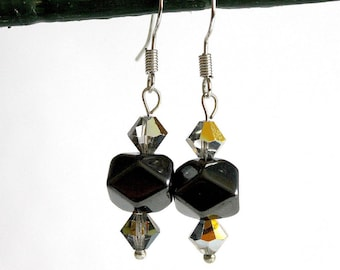 Small grey Crystal and gunmetal hematite earrings