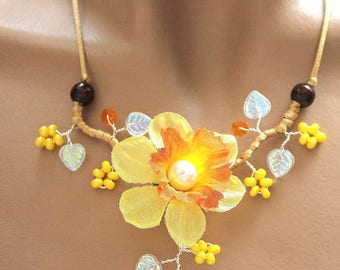Set of jewelery flower Daffodil yellow and orange