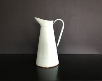 Vintage French Enamelware Green Pitcher