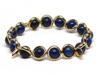 Lapis and Gold Plate or Silver Plate Adjustable Bracelet Handmade in the USA