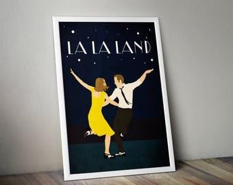 La La Land Minimalist Print - La La Land Poster Print, La La Land Film Wall Art, Mia and Sebastian Dance Minimalist Art Print.