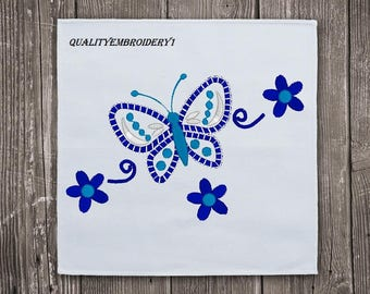 Blue Flowers and Butterfly Embroidery Design