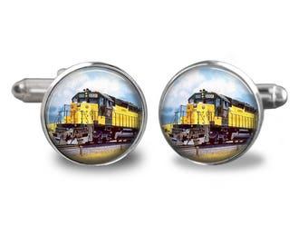 Train cufflinks steampunk cufflinks railroad cufflinks conductor gift mens cufflinks glass cufflinks silver cufflinks mens cuff links