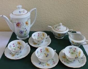 Fine Bohemian China CZECHOSLOVAKIA Beautiful White Floral China Coffee or Tea Set for 4 Creamer Sugar Pot Cups and Saucers