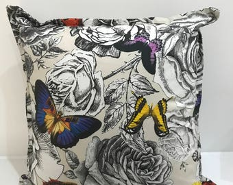 Osborne and Little - butterfly garden -Floral and butterfly print front and reverse with matching flange - 18x18in