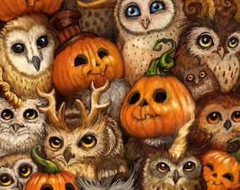 HALLOWEEN OWL Ceramic Tile Coasters