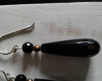 Black Onyx and copper, Silver 925 earrings