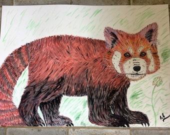 Original Watercolour Red Panda