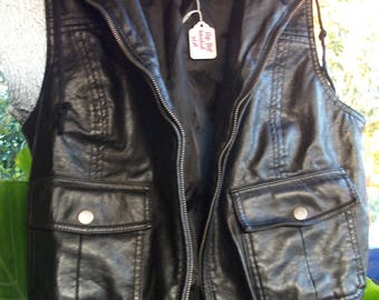 Retro Faux Leather Jacket Vest